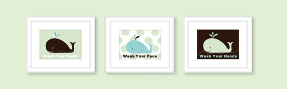 Whale Kids Bathroom Wall Art Prints Children's by FieldandFlower