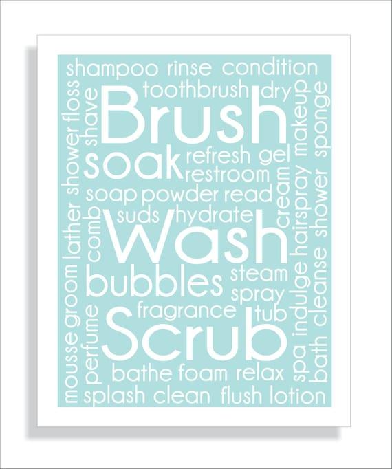 Brush, Wash, Scrub Bathroom Wall Art Typography Print - 8x10