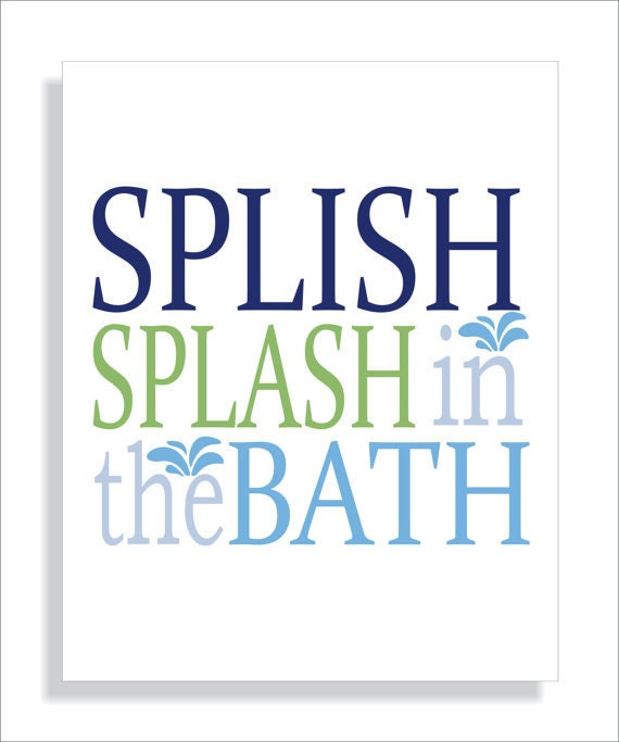 Handmade Spark - fieldandflower - Kids Bathroom Art Print Splish