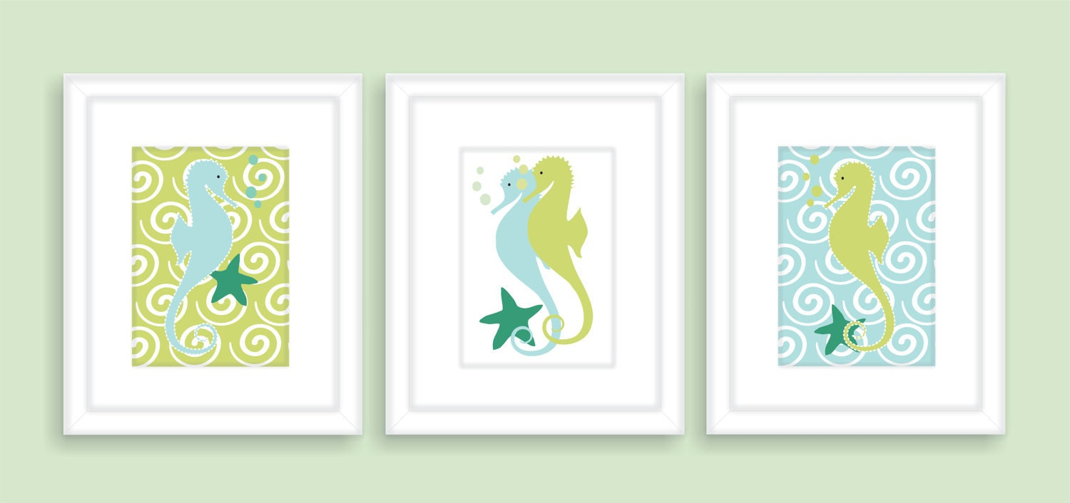 Seahorse bathroom wall decor kids bathroom art print set of for Bathroom decor etsy