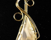 Translucent Agate 12k Gold-Filled Wire Wrapped Pendant