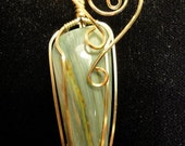 Larsonite 12k Gold-Filled Wire Wrapped Pendant