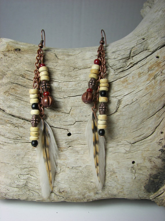 Copper and Cree Feather Earrings