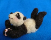 Needle felted Collectible Panda Bear, OOAK, by Grannancan