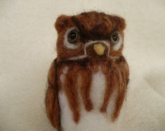 Brown Owl Miniature Needle felted Needlecrafted collectible OOAK