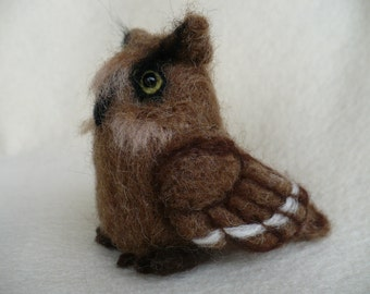Needle felted  Brown Owl, Commission OOAK by Grannancan,