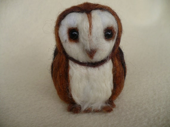 MIniature Needlecraft Collectible Needle felted Barn Owl OOAK