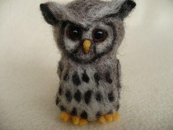 Grey Owl Miniature Needlecraft Needle felted OOAK collectible by grannancan