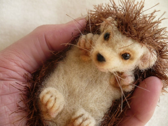 Needle felted Collectible Hedgehog. OOAK