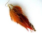 Feather Earrings - Tawny Orange