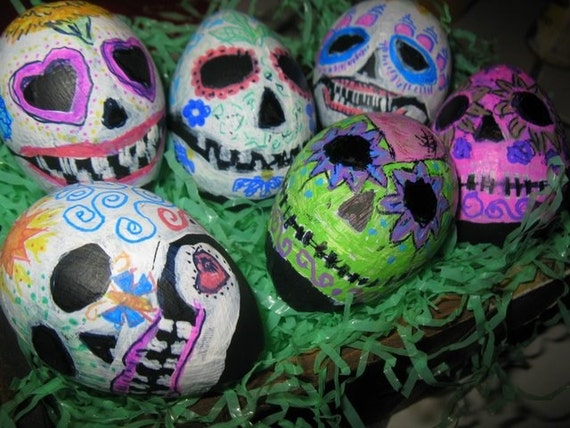 Day of the Dead paper mache eggs, set of 6 hand decorated sugar skull eggs