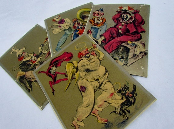 Creepy clown mid century art, set of four prints from Cydney Goodman