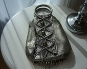 Whiting and Davis Pewter/Silver Handbag with Macrame and Metal Beads