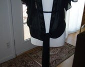 RESERVED FOR BELLADEAR..Plus Size Black Sheer Jacket Blouse with Sequins