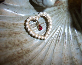 Sweetest Gold Heart Pearl and Ruby Brooch