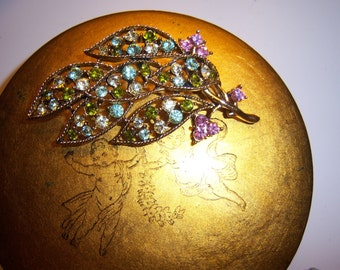 Pink and Green Crystal Leaf Brooch