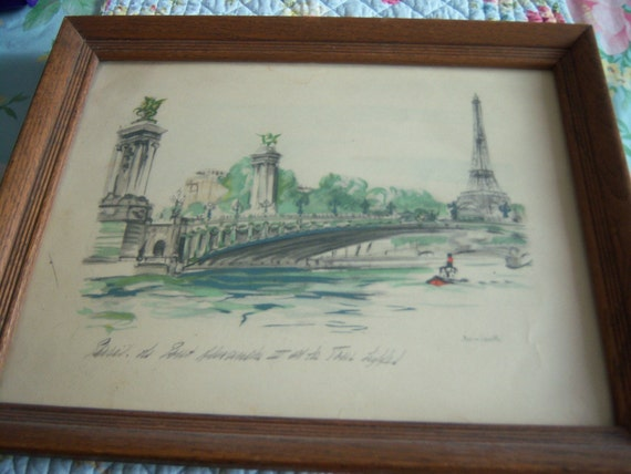 Original JANICOTTE Mid Century Charcoal Watercolor painting/drawing of Eiffel Tower