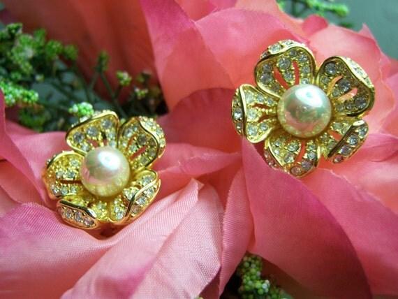 Vintage Nolan Miller Clip Flower Pearl and Crystal Earrings