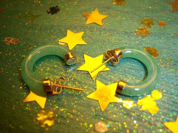14 K Yellow Gold Green Jade Hoop Earrings