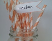 25 Peach Orange Striped Paper Straws with DIY Flag Toppers
