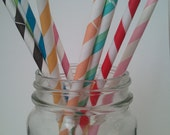 20 Rainbow  Pack -Several Colors- Paper Straws with DIY Flag Toppers