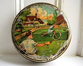 Green vintage tin, English tennis players, vintage home storage, holiday gifts