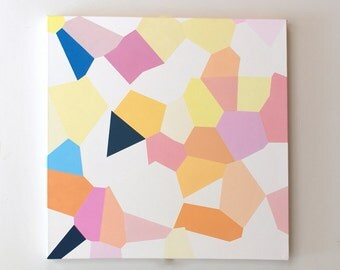 Geometric Abstract oil painting, geometric art, pastel colors, pink and yellow, geometry
