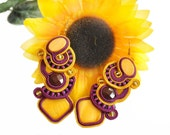 Soutache earrings with mookaite and mother of pearl - violet & yellow - NO SHIPPING COST
