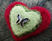 Felted Jewelry -  Heart necklace with butterfly -  Needle  Felted Jewelry