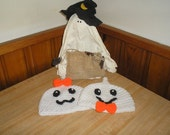PDF PATTERN Halloween Ghostly Duo Boy/Girl Hat  PDF Crochet Pattern Newborn to Adult Sizes Included Ghost family  Ghost Hat
