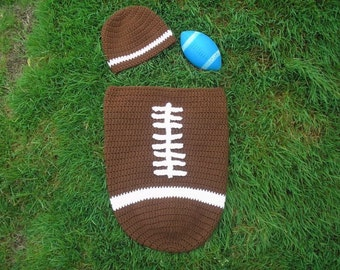 SALE: Instant Download - Crochet Football Baby Cocoon & Hat Set Pattern - Lil Quarterbacker