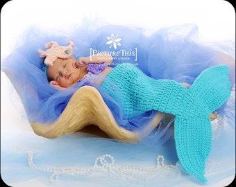 Little Mermaid crochet newborn photo prop set