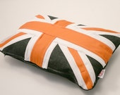 "Union Jack 'flag' cushion, 12""x20"" traditionally sewn (orange twist)"