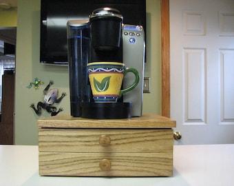Two Drawer Handcrafted Solid Oak Keurig K Cup Holder