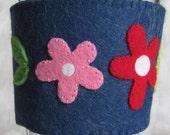 SewCozy Wool Felt Cup Sleeve - Dark Blue Red Pink Yellow Flowers