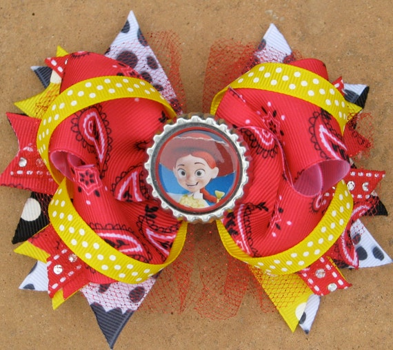 TOY STORY Jessie Hair Bow Boutique Style Bottle Cap Hair Bow with Cow ...