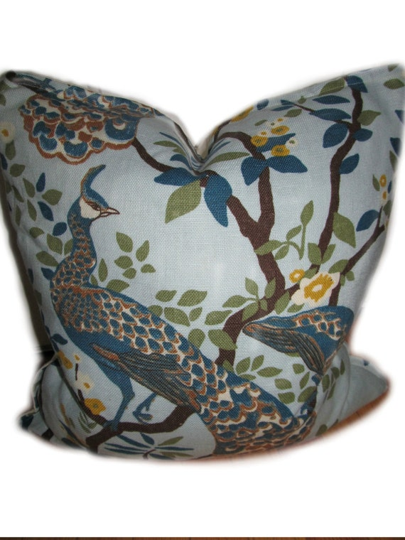 Peacock Pillow - Vintage Plumes  - Blue, Brown and Green