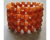 Cat's Eye Bracelet - Cuff Style in orange ochre