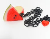 Unique Big and Bright Apple Watermelon Slice Charm Necklace on an 80s plastic Chain