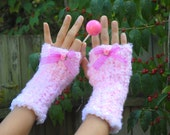 Super Soft Handmade Crocheted Fingerless Gloves Pink COTTON CANDY SCENTED