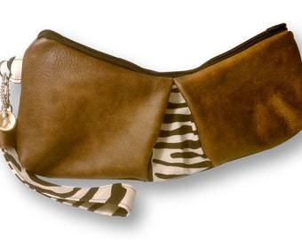 AUDREY in Brown Leather and Zebra Print