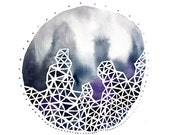 THE WINTER CIRCLE abstract watercolor art print in navy, purple, gray