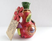 Fall Decor  - Clay Sculpture - Red Bottle - The Spirit of Fall - The Spirit of Autumn Trapped in a Magical Bottle - Clay Figurine