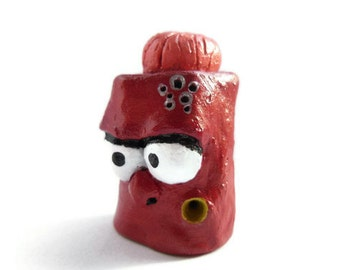 Clay Sculpture - Red Monster - The Whistling Family - Mr.Brainy  The Smartest Monster - OOAK
