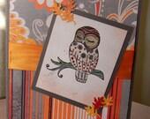 Owl card, blank card, fall colors, orange, red, birthday card, thank you card