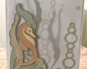 Seahorse card, under the sea, nautical, art nouveau style