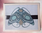 The Moth Card, in blue - art nouveau, antique, blue and grey, blank inside