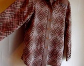70s Pink and Brown Zig Zag Button Up Shirt