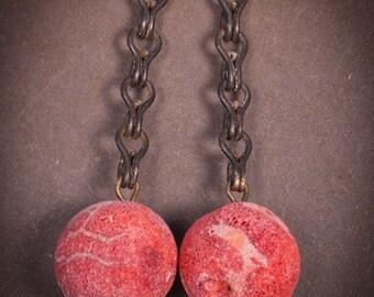 Red Coral earrings.  Handmade vintage assemblage earrings.