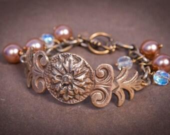 Elegant brass Victorian style  bracelet